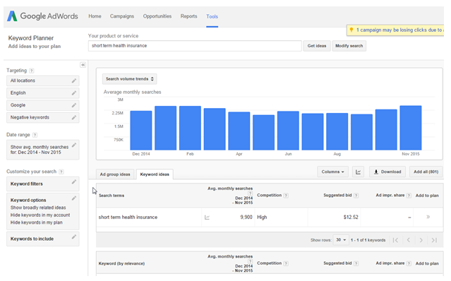 Local SEO for Insurance Agents: Adwords Keyword Research Tool