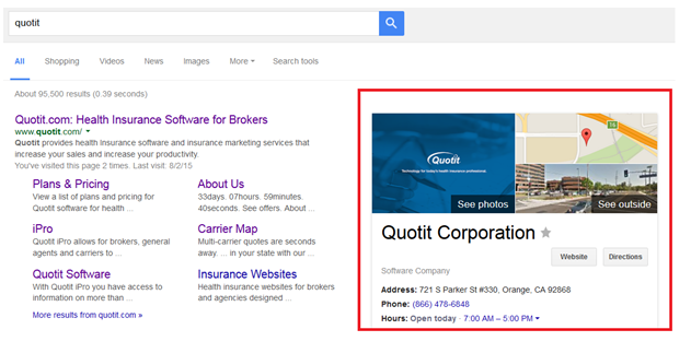 Google Plus Business Listing Example