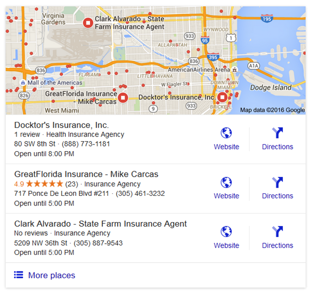 Google Places Search Results