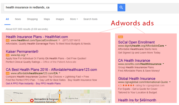 Online Lead Generation Strategies - Adwords example ad